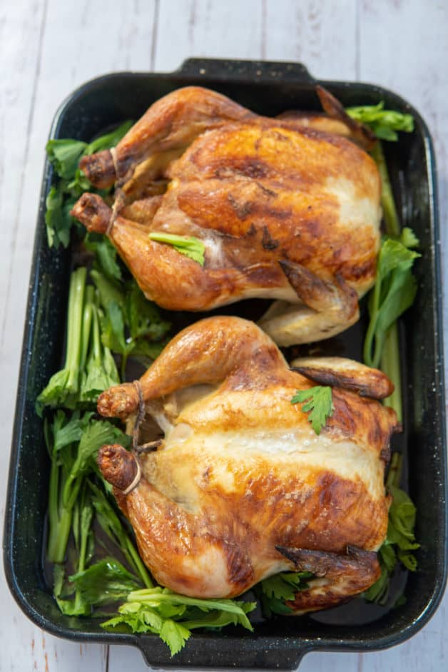 This Buttermilk Roasted Chicken uses only three ingredients which are a whole chicken, salt and buttermilk and is roasted into perfection!