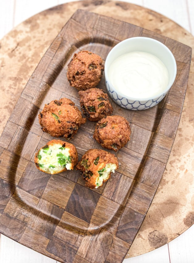 These Keto Jalapeño Hushpuppies are made with almond flour, coconut flour, jalapeños, eggs and are fried in oil.