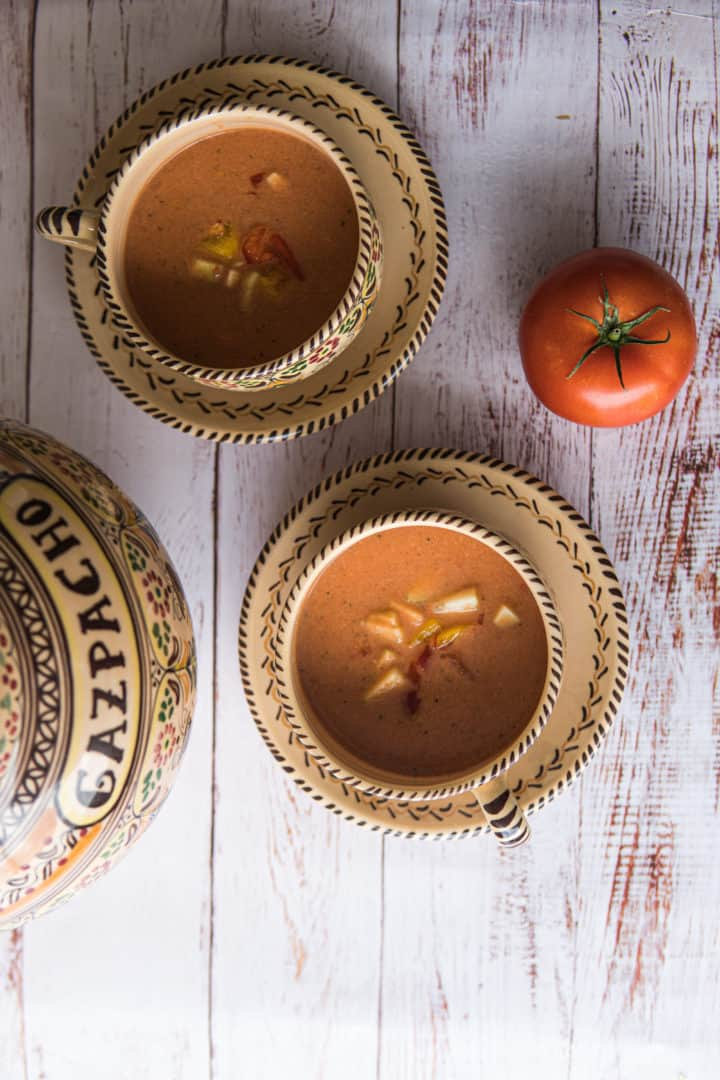 This Authentic Spanish Gazpacho is made with tomatoes, cucumber, garlic, onion, bell pepper, olive oil and salt.